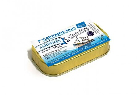 Sardines à l'huile d'olive vierge extra bio SANS SEL - Format 1/10 - Capitaine Nat