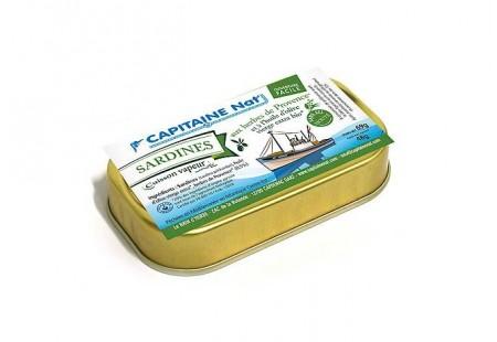 Sardines à l'huile d'olive vierge extra bio et aux herbes bio SANS SEL - Format 1/10 - Capitaine Nat