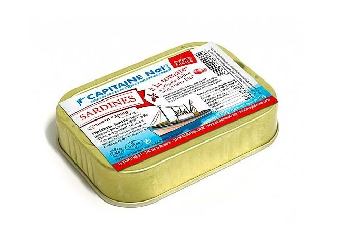 Sardines à l'huile d'olive vierge extra bio et tomates bio - Format 1/6 - Capitaine Nat