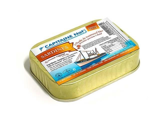 Sardines à l'huile de tournesol bio - Format 1/6 - Capitaine Nat