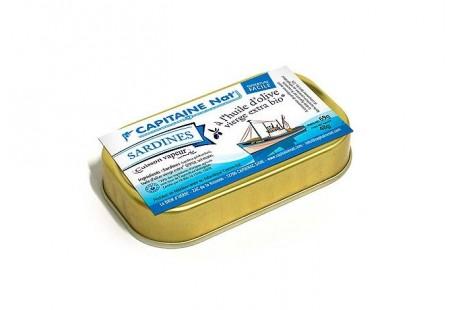 Sardines à l'huile d'olive vierge extra bio - Format 1/10 - Capitaine Nat