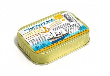 Sardines à l'huile d'olive vierge extra bio et citron bio - Format 1/6 - Capitaine Nat
