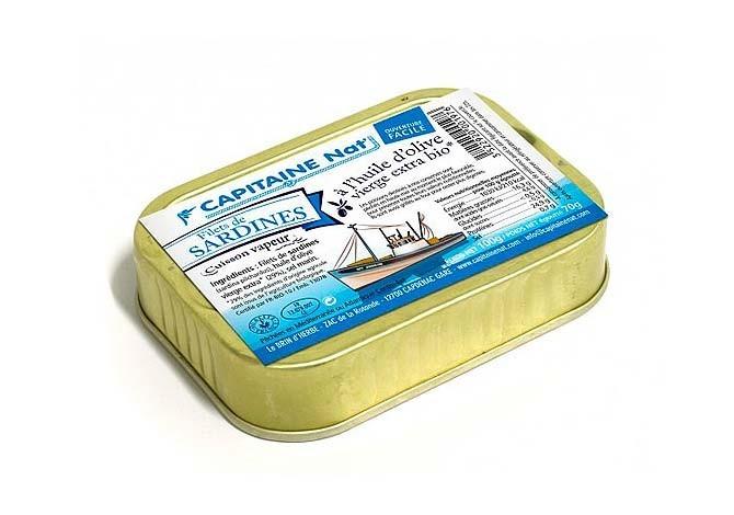 Files de sardines à l'huile d'olive vierge extra bio - Format 1/7 - Capitaine Nat